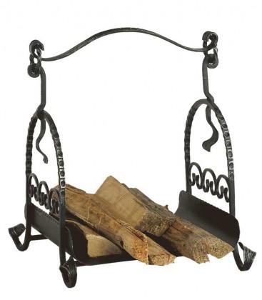 Handgeschmiedeter Holzkorb, schwarz