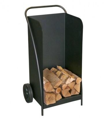 Fahrbarer Holzwagen schwarz, H 95 cm