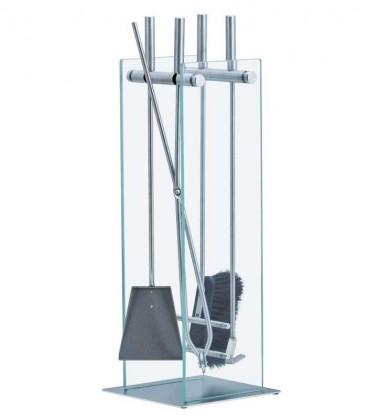 Kaminbesteck Materialmix Glas, 4-teilig, 75 cm
