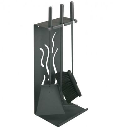 Kaminbesteck, steingrau, 3-teilig, 62 cm