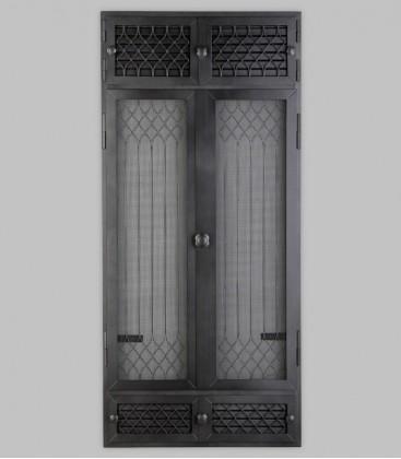 Vortür mit Röhrtür und Ventilation FLANDERN 2-türig 57 x 125, schwarz